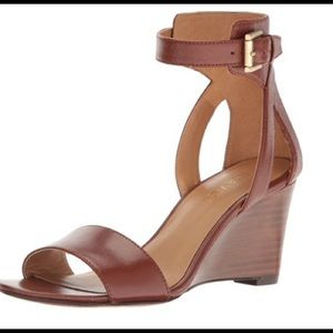 NEW Nine West Nobody Brown Leather Wedge